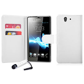 Book PU Leather Wallet Case For Sony Xperia M4 - White Mobile phones