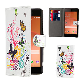 Design Book PU Leather Wallet Case For Sony Xperia M4 - Colour Butterfly Mobile phones