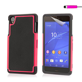 Dual Layer Shockproof Case For Sony Xperia M4 - Hot Pink Mobile phones