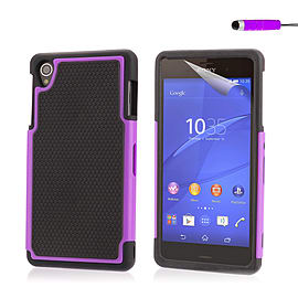 Dual Layer Shockproof Case For Sony Xperia M4 - Purple Mobile phones