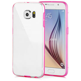 Frostycow Clear Hard Back Silicone TPU Bumper Cover Case For Samsung Galaxy S6 Pink Mobile phones