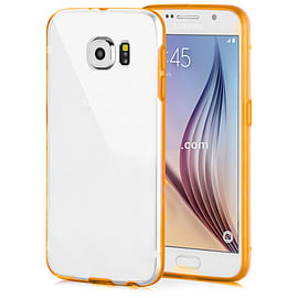 Frostycow Clear Hard Back Silicone TPU Bumper Cover Case For Samsung Galaxy S6 Orange Mobile phones