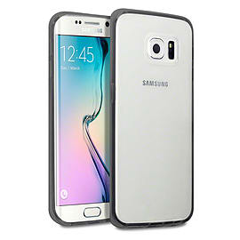 Frostycow Clear Hard Back Silicone TPU Bumper Cover Case For Samsung Galaxy S6 Edge Black Mobile phones