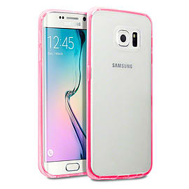 Frostycow Clear Hard Back Silicone TPU Bumper Cover Case For Samsung Galaxy S6 Edge Pink Mobile phones