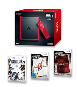 WII Mini Red Console with Resident Evil Archives, Resident Evil Archives Zero and Resident Evil Darkside Chronicles Wii