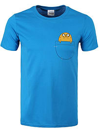 Adventure Time Jake Pocket Blue Men's AT T-shirt: Extra Large (Mens 42- 44) Clothing