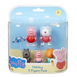 Peppa Pig Holiday 5 Figure Pack Figurines and Sets