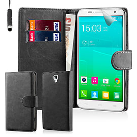 Book PU Leather Wallet Case For Alcatel Pop Idol 2 S - Black Mobile phones