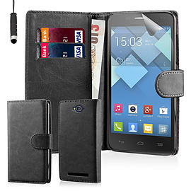 Book PU Leather Wallet Case For Alcatel Pop C7 - Black Mobile phones