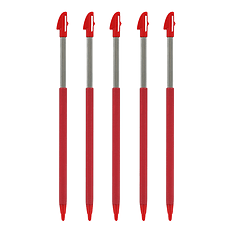 ZedLabz extendable slot in stylus pens for Nintendo 3DS XL - 5 Pack - Light red 3DS