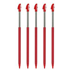 ZedLabz extendable slot in stylus pens for Nintendo 3DS XL - 5 Pack - Light red 3DS