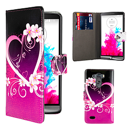 Design Book PU Leather Wallet Case For LG G4 Stylus - Love Heart Mobile phones