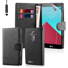Book PU Leather Wallet Case For LG G4 Stylus - Black Mobile phones