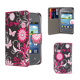 Design Book PU Leather Wallet Case For Samsung Galaxy Pocket 2 - Gerbera Mobile phones
