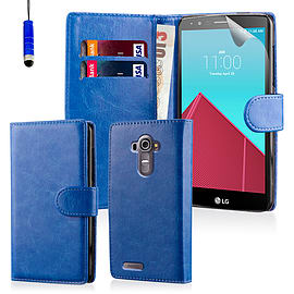 Book PU Leather Wallet Case For LG G4 Stylus - Deep Blue Mobile phones