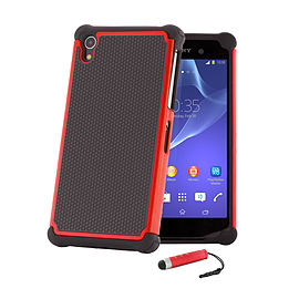Dual Layer Shockproof Case For Sony Xperia Z1F Compact - Red Mobile phones