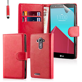 Book PU Leather Wallet Case For LG G4 Stylus - Red Mobile phones