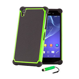 Dual Layer Shockproof Case For Sony Xperia Z1F Compact - Green Mobile phones
