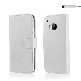 Book PU Leather Wallet Case For HTC One ME - White Mobile phones