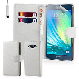 Book PU Leather Wallet Case For Samsung Galaxy Core Prime - White Mobile phones