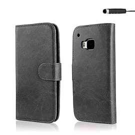 Book PU Leather Wallet Case For HTC One ME - Black Mobile phones