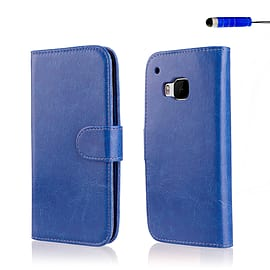 Book PU Leather Wallet Case For HTC One ME - Deep Blue Mobile phones