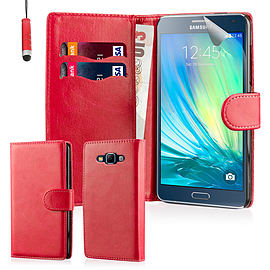 Book PU Leather Wallet Case For Samsung Galaxy Core Prime - Red Mobile phones