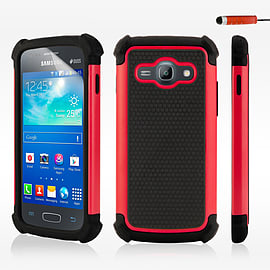 Dual Layer Shockproof Case For Samsung Galaxy Core Prime - Red Mobile phones