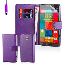 Design Book PU Leather Wallet Case For Motorola Moto X3 - Purple Mobile phones