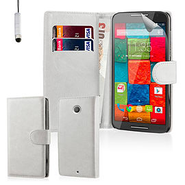 Design Book PU Leather Wallet Case For Motorola Moto X3 - White Mobile phones