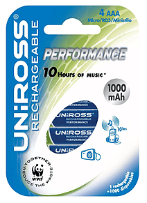 Uniross 4x AAA Performance Rechargeable Batteries PS3