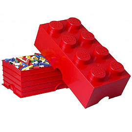Lego Storage Brick 8 Red Blocks and Bricks