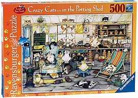 Crazy Cats In The Potting Shed Puzzle (500 Pieces) Traditional Games