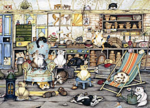 Crazy Cats In The Potting Shed Puzzle (500 Pieces) screen shot 1
