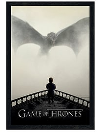 Game of Thrones Black Wooden Framed A Lion & A Dragon GoT Maxi Poster 61x91.5cm Posters