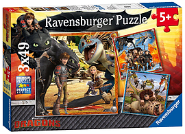 How To Train Your Dragon - 3 x 49 Piece Jigsaws Traditional Games
