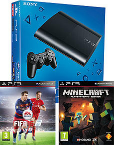 PlayStation 3 12GB Console With FIFA 16 & Minecraft PS3