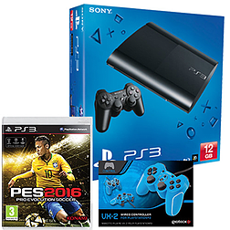 PlayStation 3 12GB Console With Pro Evolution Soccer 2016 & Blue VX2 Controller PlayStation 3