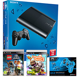 PlayStation 3 12GB With LittleBigPlanet 3, LEGO Jurassic World & Blue VX2 Controller PS3