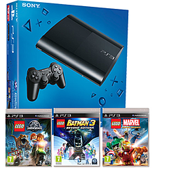 PlayStation 3 12GB Console With LEGO Jurassic World, LEGO Batman 3 & LEGO Marvel Super Heroes PS3
