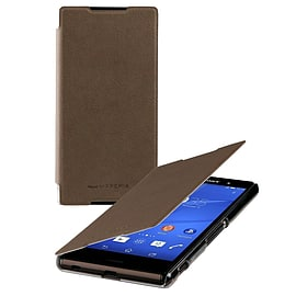 Roxfit Ultra Slim Book Case Flip Cover Folio for Sony Xperia Z3+ (Mushroom Brown) NEW Mobile phones