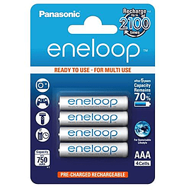 4x Panasonic Eneloop Micro AAA 750 mAh Rechargeable Battery Multi Format and Universal
