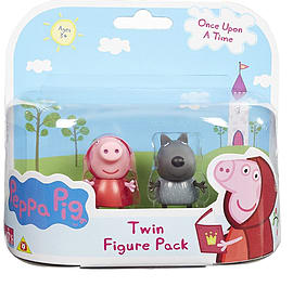 Peppa Pig Once Upon A Time Figure 2 Pack - Red Riding Hood and Danny As Wolf Figurines and Sets