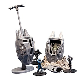 Halo Micro Ops ODST Drop Pods and debris base and drag chute and Buck and 2 ODSTs Figurines and Sets