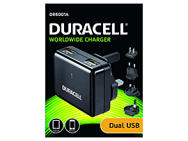Duracell Dual Usb Wall Charger 2.4a &1a Tablet