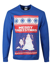 Adventure Time Merry Christmas! Christmas Sweatshirt Blue Men's At Sweater: Medium (mens 38 - 40) Clothing
