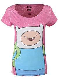 Adventure Time Finn Pink With Dots Women's At T-shirt: Skinny Fit Small (uk 8 - 10) Clothing