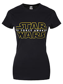 Star Wars The Force Awakens Logo Black Women's T-shirt: Skinny Fit Extra Large (uk 14 - 16) Clothing