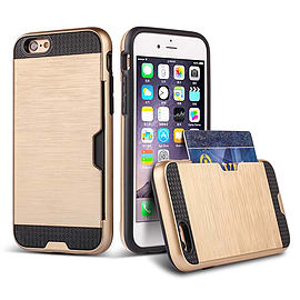 Dual Layer Shockproof Card Slot Case For Apple Iphone 6 4.7? - Gold Mobile phones