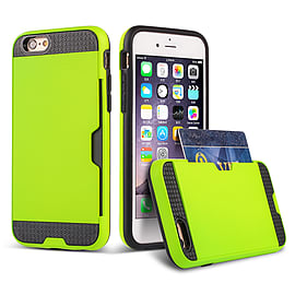 Dual Layer Shockproof Card Slot Case For Apple Iphone 6 4.7? - Lime Green Mobile phones